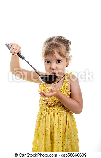 little girl with ladle isolated on white - csp58660609