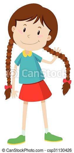 little girl with long hair illustration vector illustration search rh canstockphoto com Little Black Girl Clip Art Little Girl Birthday Clip Art