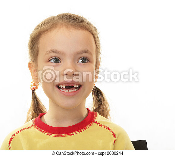 Little girl with no upper teeth. - csp12030244