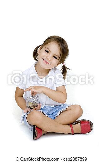 little girl with piggy bank - csp2387899