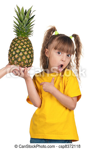 Little girl with pineapple - csp8372118
