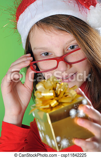 little girl with present - csp11842225