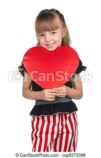 Little girl with red heart - csp8372398