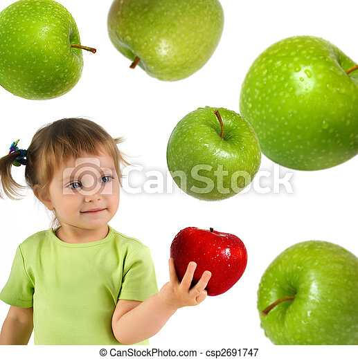 Little girl with ripe red apple - csp2691747