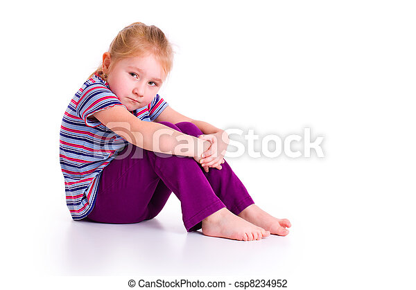 little girl with sad expression - csp8234952