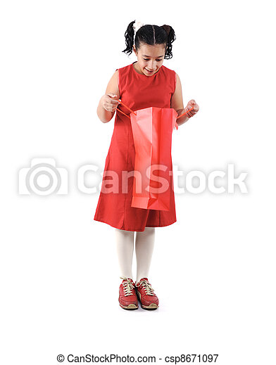 Little girl with shopping bags and boxes, isolated - csp8671097
