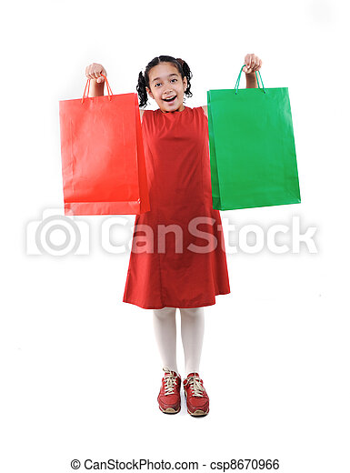 Little girl with shopping bags and boxes, isolated - csp8670966