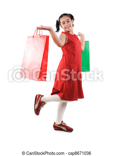 Little girl with shopping bags and boxes, isolated - csp8671036