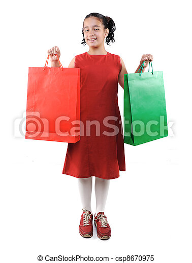 Little girl with shopping bags and boxes, isolated - csp8670975
