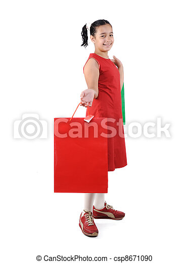 Little girl with shopping bags and boxes, isolated - csp8671090