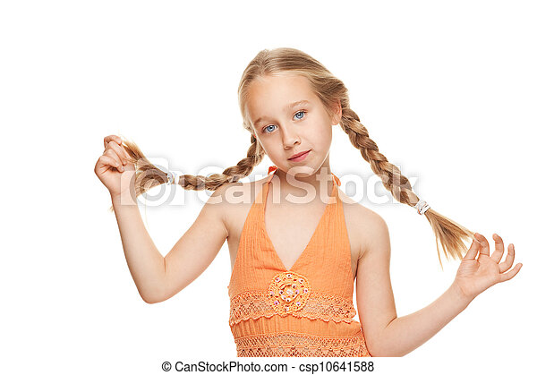 Little girl with side braids. Isolated on white background - csp10641588