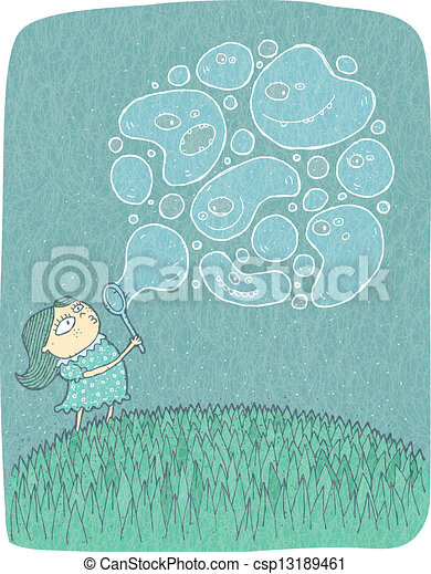 Little Girl with Soap Bubbles: hand drawn vector illustration - csp13189461