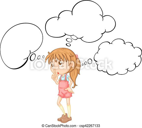 little girl with speech bubble template csp42267133