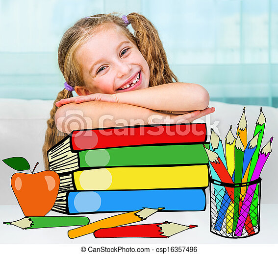 little girl with the books - csp16357496