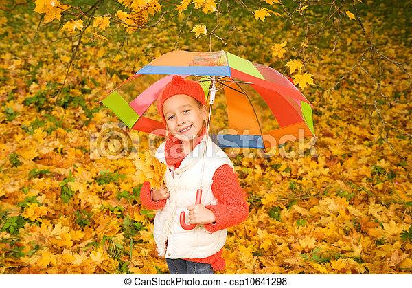 little girl with umbrella - csp10641298