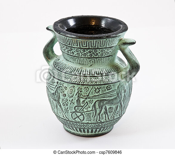 Little greek pottery on awhite background - csp7609846