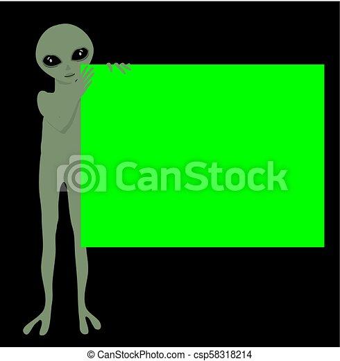 little Green alien little holding a 1920 X 1440 ratio green screen vector illustration against dark background - csp58318214