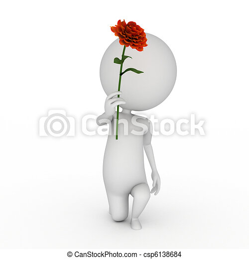 little guy with a red rose - csp6138684