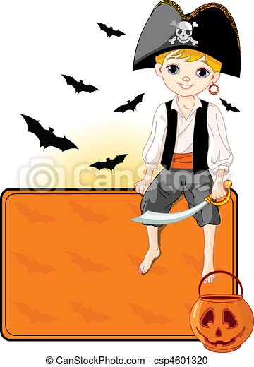 Little Halloween Pirate place card - csp4601320