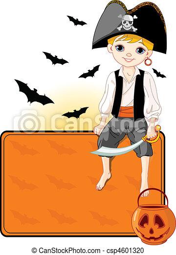 Little Halloween Pirate place card - csp4601320
