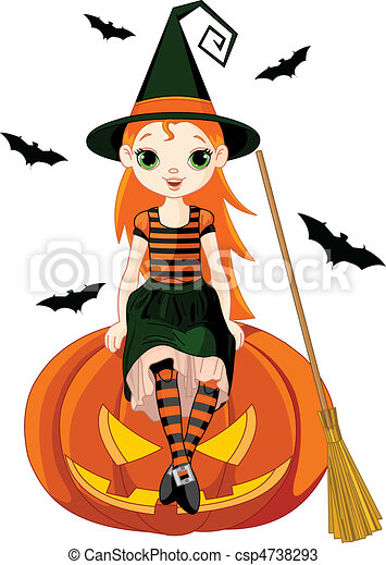 Little Halloween Witch on pumpkin - csp4738293