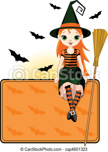 Little Halloween Witch place card - csp4601323