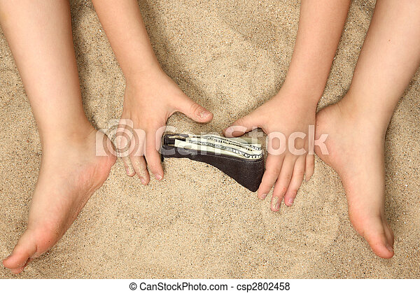 Little Hands and Feet in Sand - csp2802458