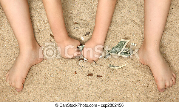 Little Hands and Feet in Sand - csp2802456