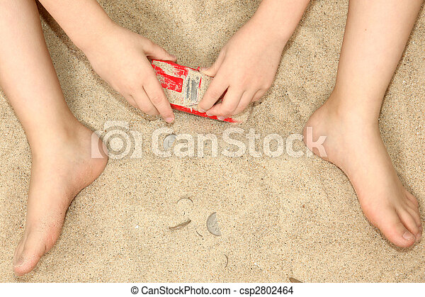 Little Hands and Feet in Sand - csp2802464