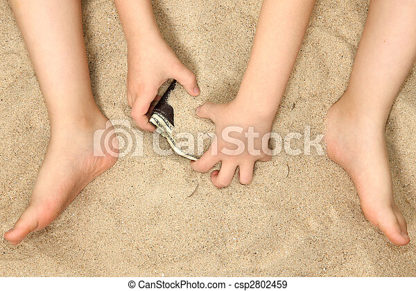 Little Hands and Feet in Sand - csp2802459