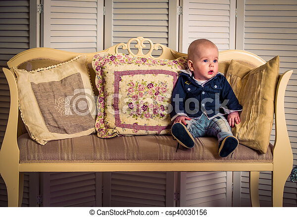 little handsome boy on the sofa - csp40030156