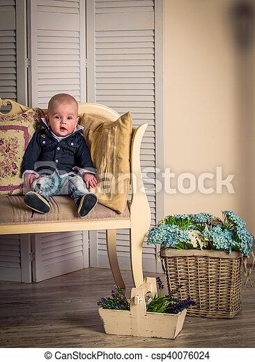 little handsome boy on the sofa - csp40076024