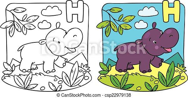 Little Hippo Coloring Book Alphabet H