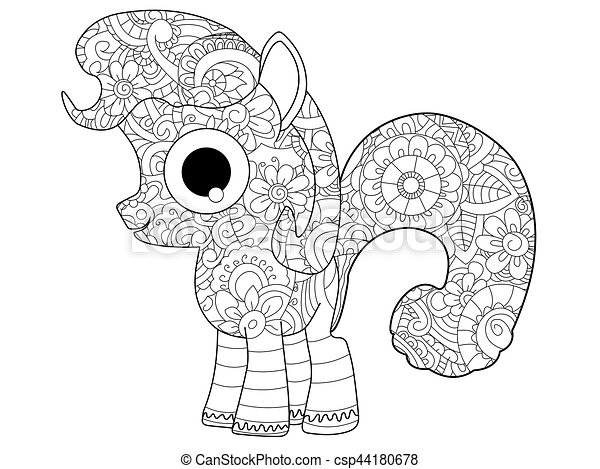 Little horse pony coloring vector for adults - csp44180678