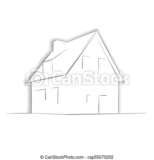 Little House Drawing by Hand - csp55070202