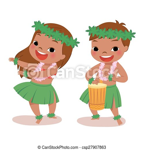 little hula dancers illustration of hawaiian boy playing drum and rh canstockphoto com hulu clip art clipart hula girl
