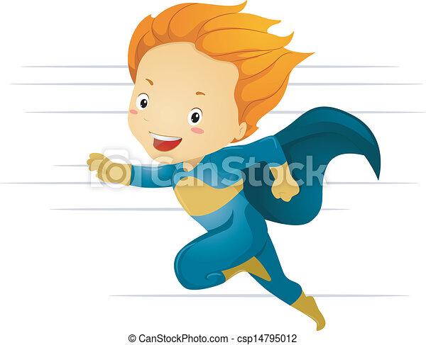 little kid boy superhero running fast illustration of a vector rh canstockphoto com  kid superhero clipart free