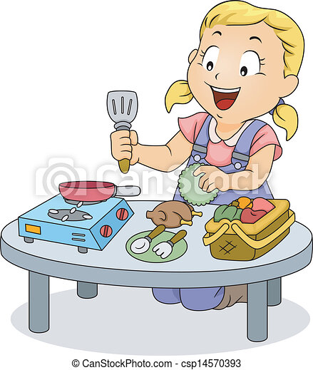 Little Kid Girl Playing With Cooking Toys Illustration Of A Little