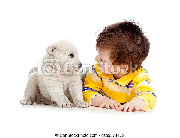 little kid training puppy on white background - csp9574472
