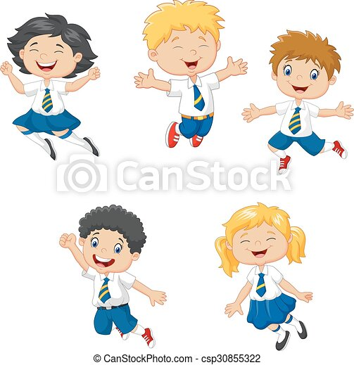 Little kids smiling and jumping - csp30855322