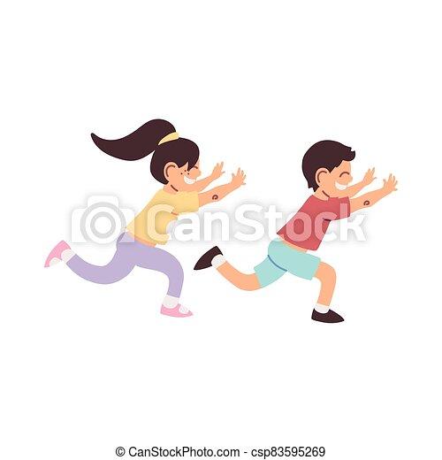 little kids smiling running cartoon - csp83595269