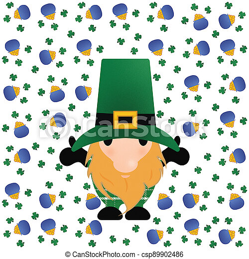 Little Leprechaun with Shamrocks and a Pot of Gold on White - csp89902486