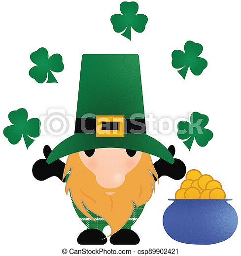Little Leprechaun with Shamrocks and a Pot of Gold on White - csp89902421