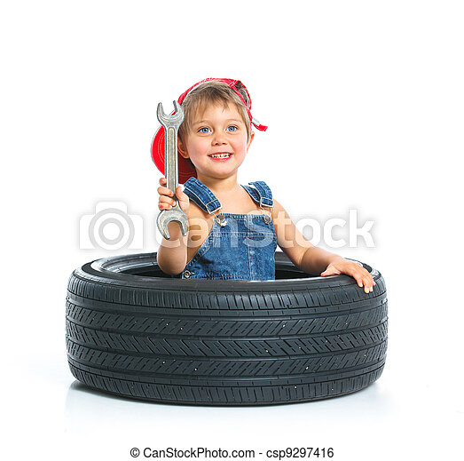 Little mechanic with a tire - csp9297416
