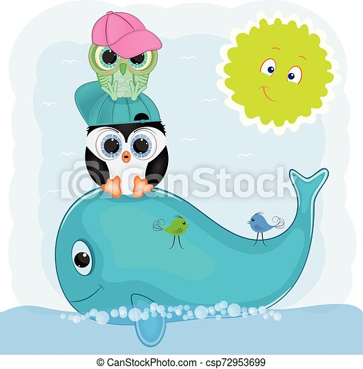 Little Penguin And Owl On A Whale Cartoon Vector Illustration Canstock
