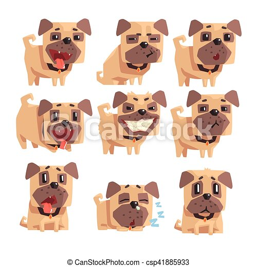 Little Pet Pug Dog Puppy With Collar Set Of Emoji Facial Expressions