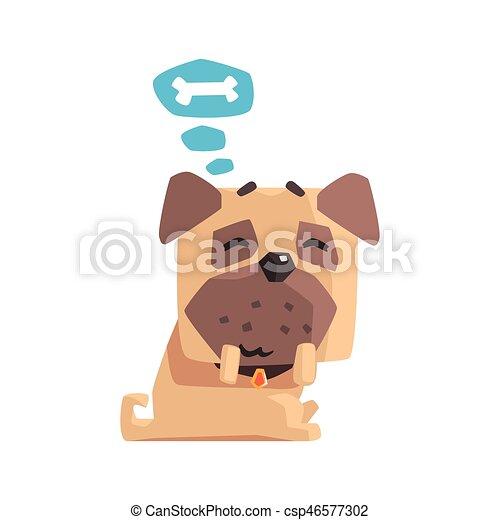 Little Pet Pug Dog Puppy With Collar Dreaming Of A Bone Emoji Cartoon  Illustration