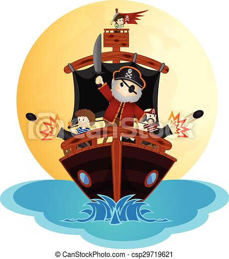 Little Pirates Sailing With Ship - csp29719621