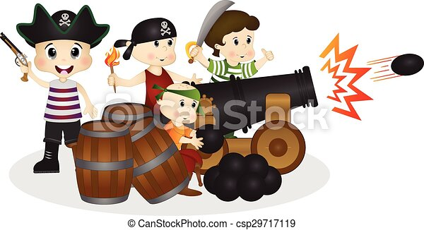 Little Pirates with cannonball - csp29717119