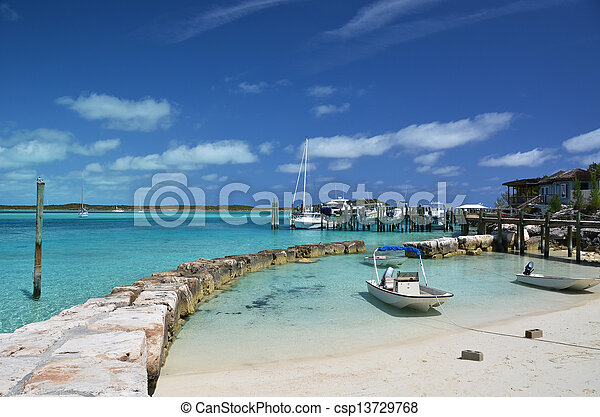 Little port at Exuma Cays. Bahamas - csp13729768